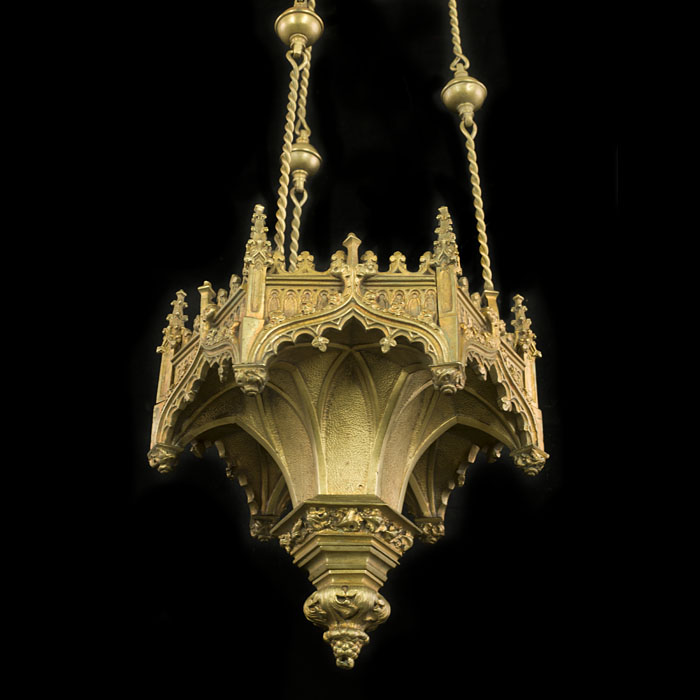 An  Antique Gothic style brass chandelier