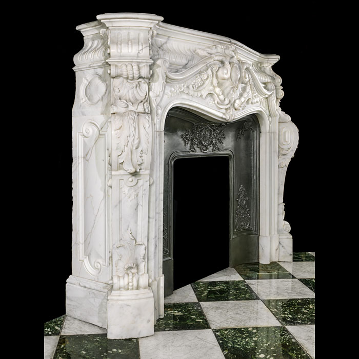 A Large Rococo Baroque Marble Fireplace