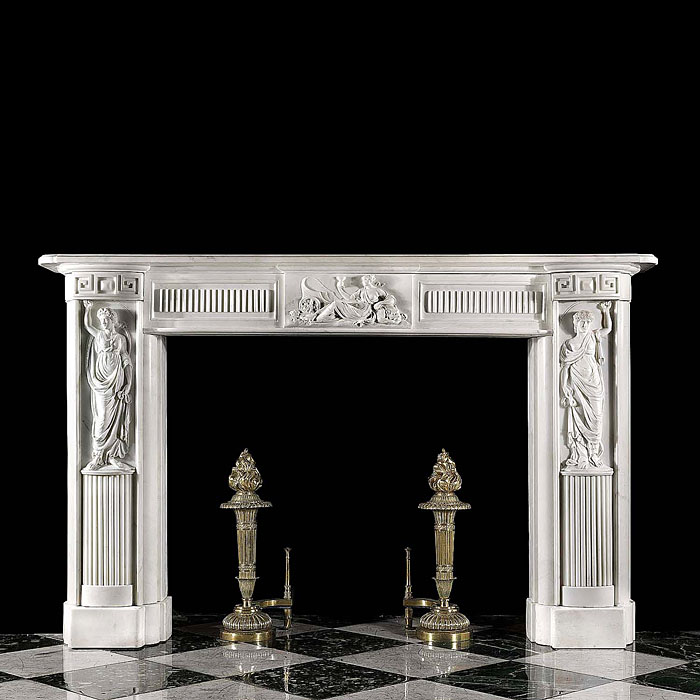 Antique white statuary Marble Regency fireplace in the Greek Revival manner