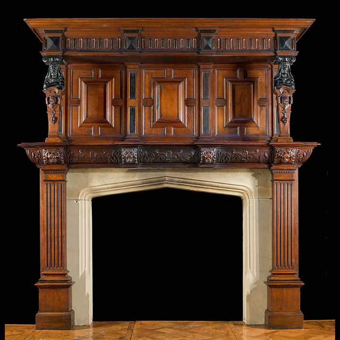 Antique Jacobean Oak And Ebony Fireplace