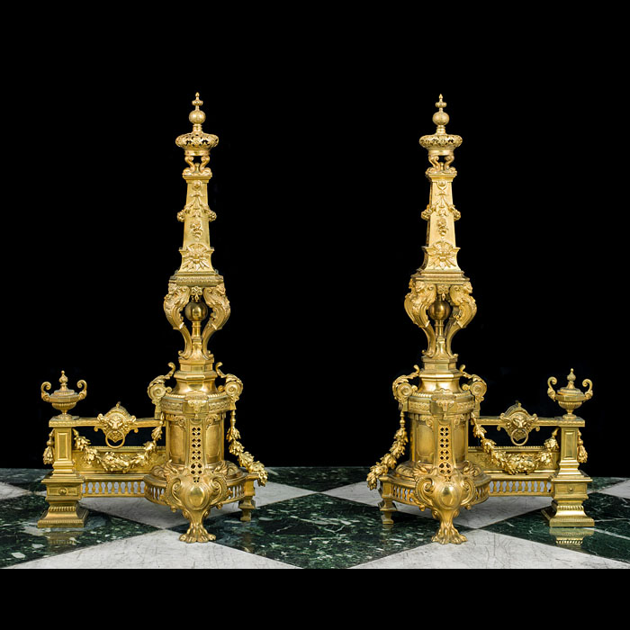 Ornate Pair of Tall French Gilt Brass Chenet