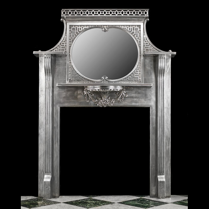 Early 20th century cast iron antique chimneypiece