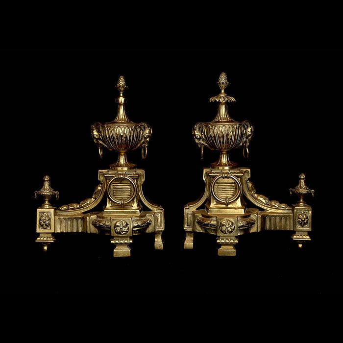 Rams Head Pair of Antique Bronze Chenets
