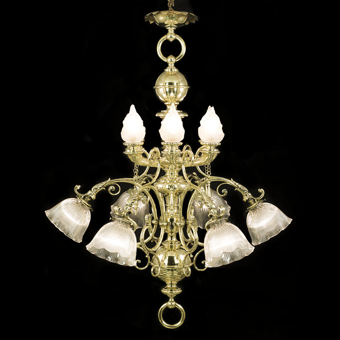 Flamboyant twelve light Victorian brass antique chandelier
