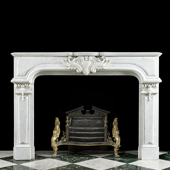 A French Louis XVI  Marble Fireplace Mantel