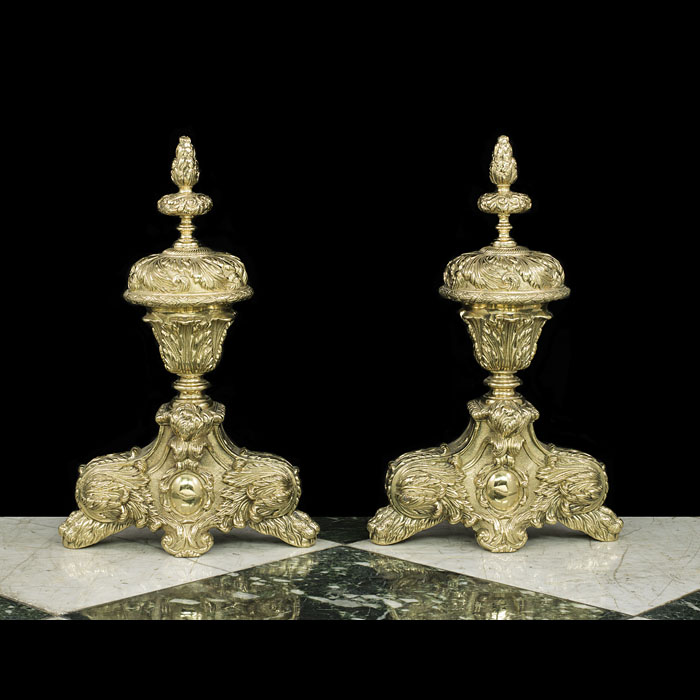 Early 20th century pair of brass Baroque style chenet