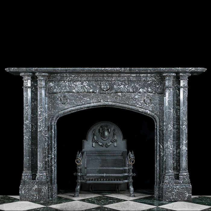 A Gothic Revival Antique Marble Fireplace
