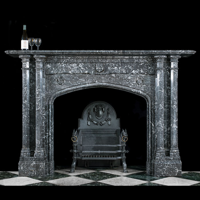 A Large Gothic Revival Saint Anne Marble Antique Fireplace