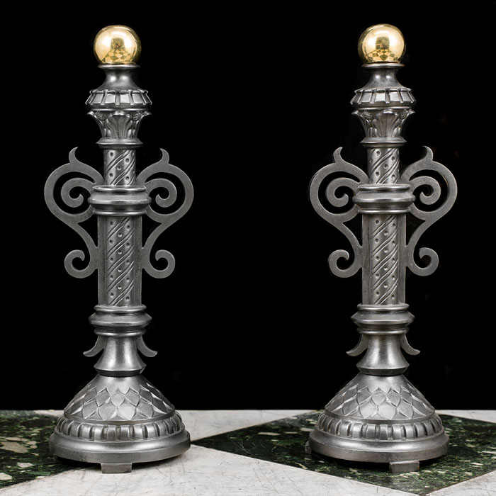 A Pair of Baroque Style Antique Fire Dogs