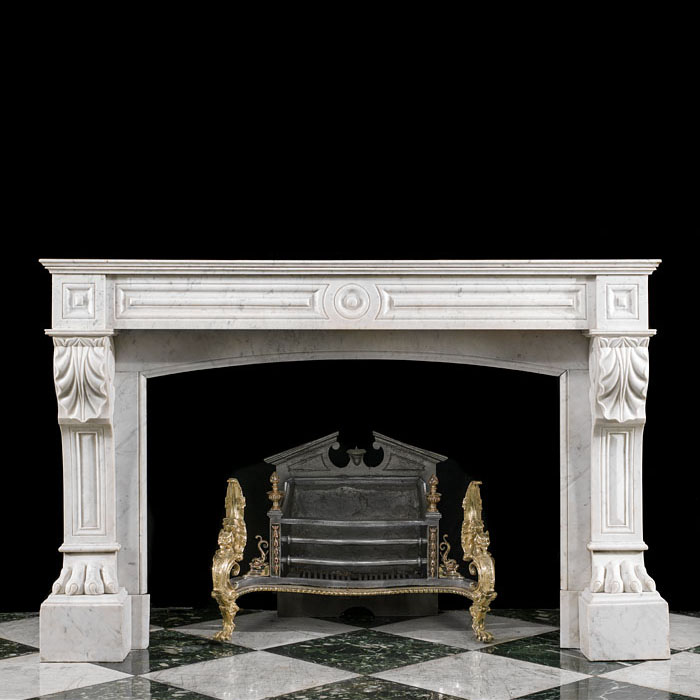 A Louis XVI French Carrara Marble Fireplace