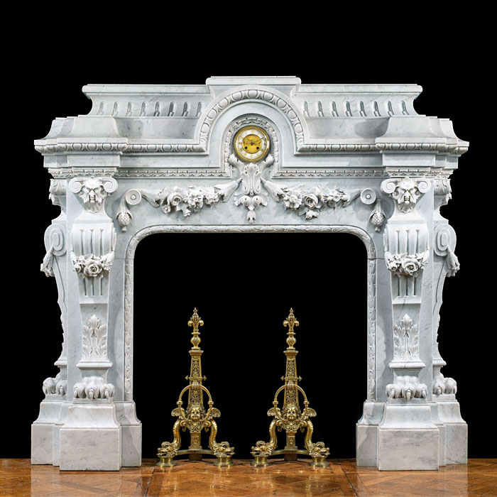 Grand French Baroque Style Marble Fireplace