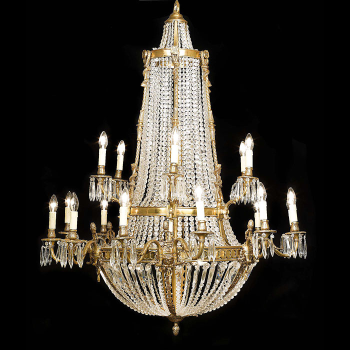 Large Neoclassical Style Cut Glass Chandelier