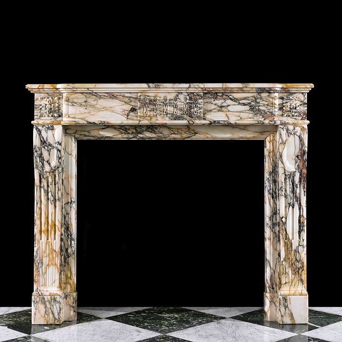 A Louis XVI Pavonazza Marble antique fireplace mantel