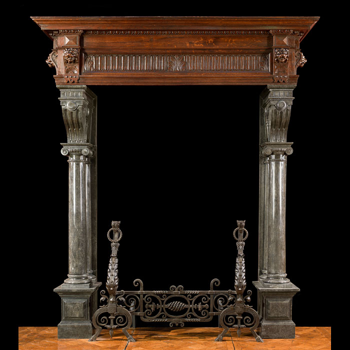 A Belgian Stone & Wood Antique Fireplace
