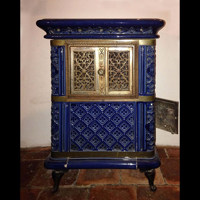 Rare antique French Cobalt blue wood burning stove.