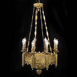 A Gothic Revival ornate eight branch antique chandelier