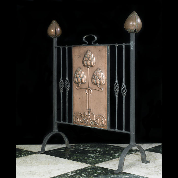Copper and Steel Art Nouveau fire screen