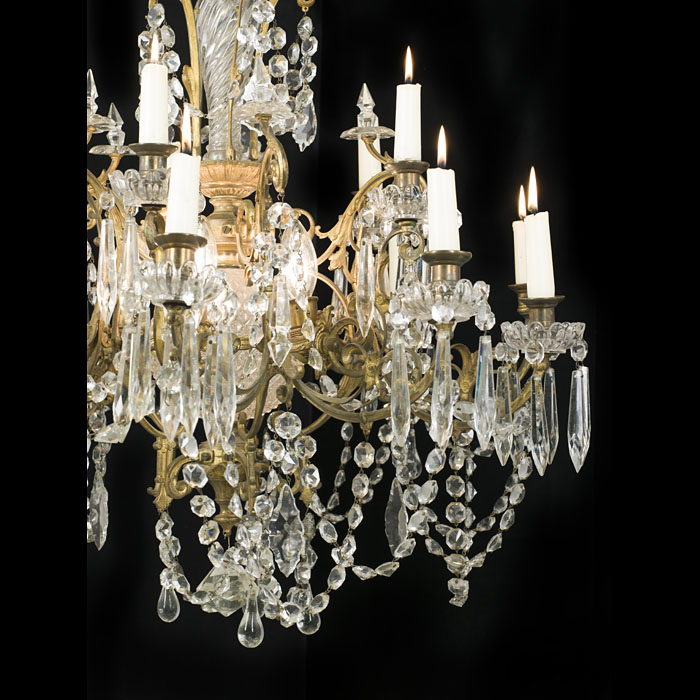 A 20th century cut glass fifteen branch chandelier