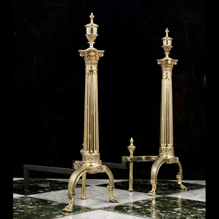 Antique pair of tall brass Georgian style andirons