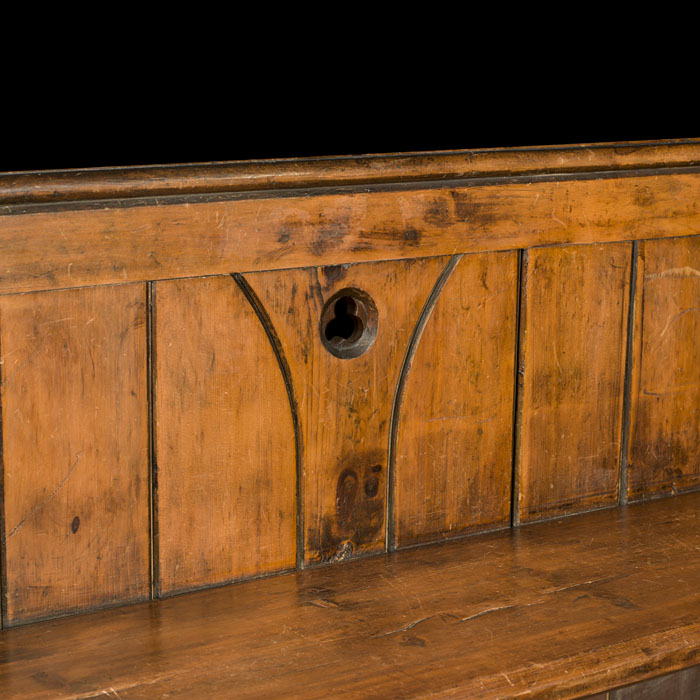 An Arts & Crafts carved oak antique Victorian pew bench