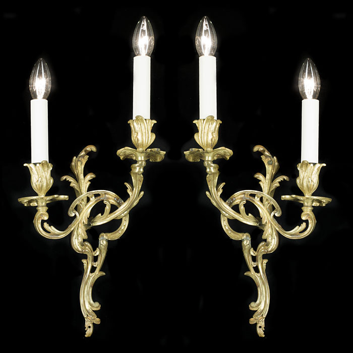 A Rococo Revival Pair of Brass Wall Lights
