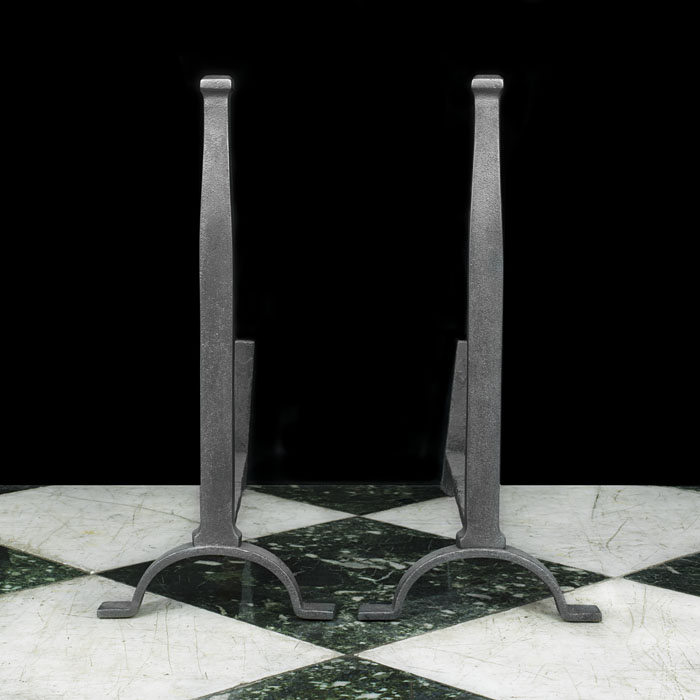 A Pair of Tudor Style Cast Iron Andirons