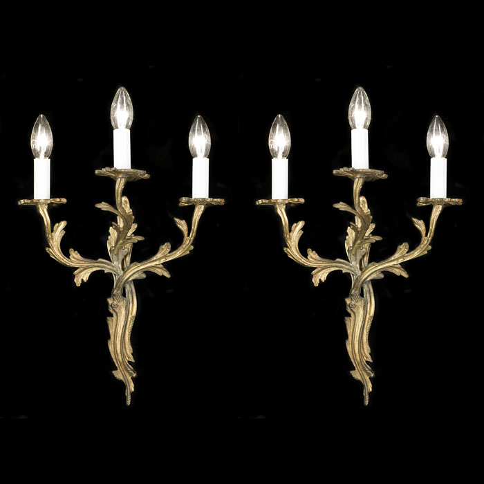 Pair of Rococo Style Triple Arm Wall Lights