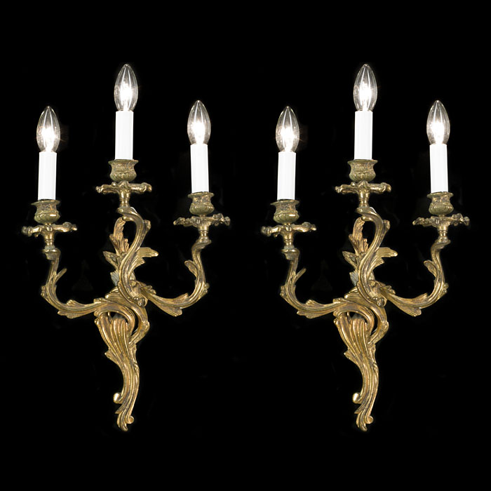 A Pair of Rococo Style Ormolu Wall Lights