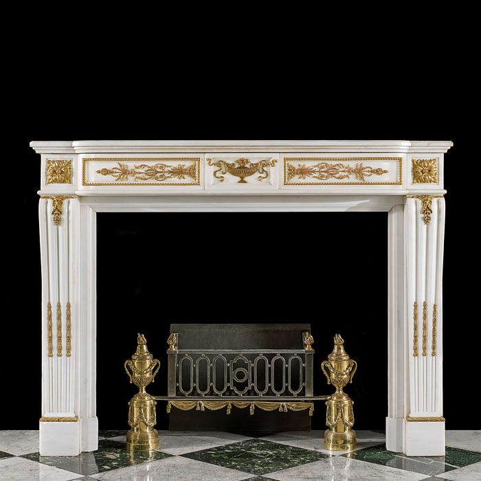 Statuary Marble and Ormolu Louis XVI Fireplace