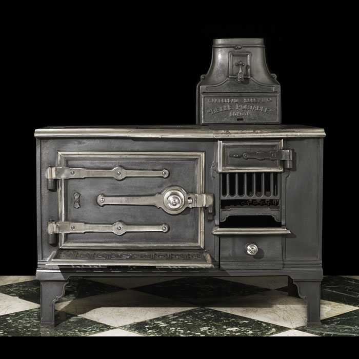 A portable Victorian cast iron antique kitchen range