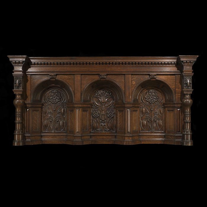 Antique Arts & Crafts carved oak overmantle