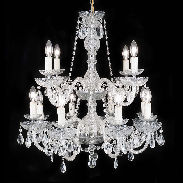 A 20th century twelve branch glass chandelier