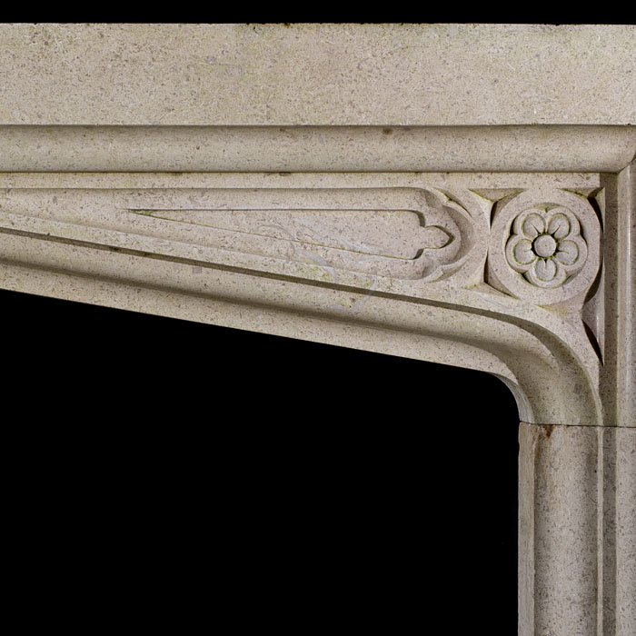 A Victorian Portland Stone Tudor Revival Fireplace Surround