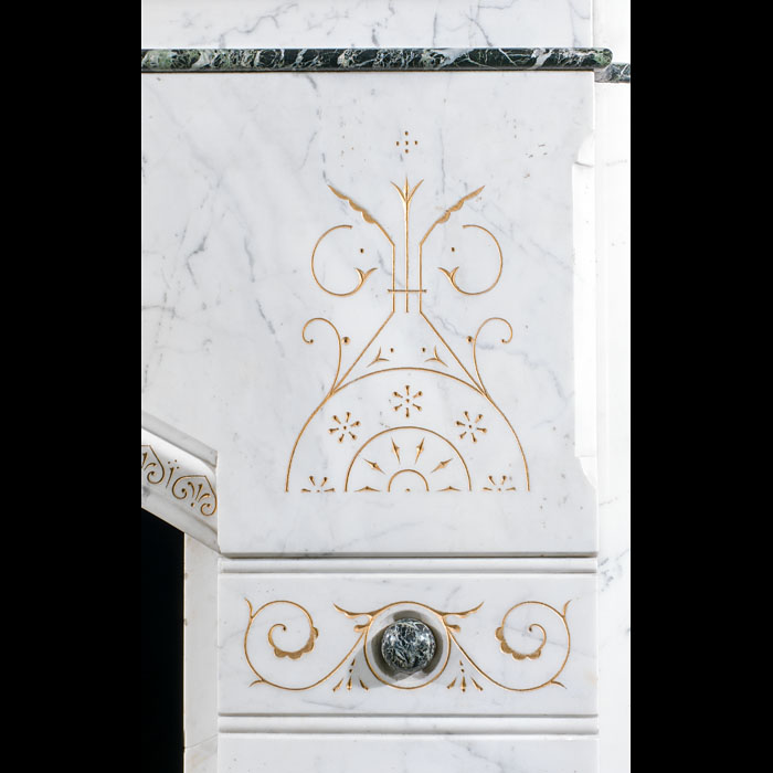 A fine and large Aesthetic Movement antique marble fireplace