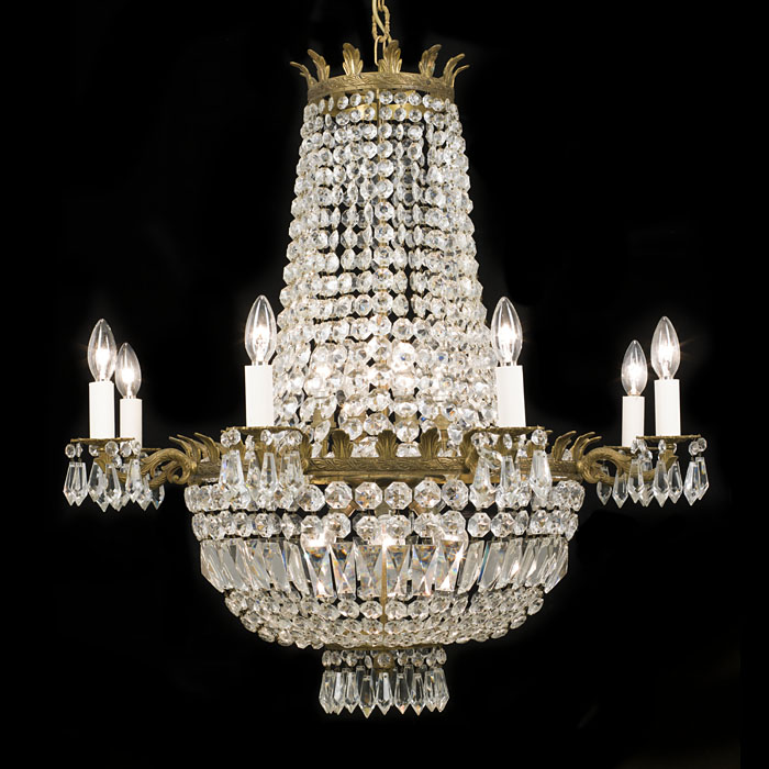 A 20th century cut glass and gilt brass bag chandelier