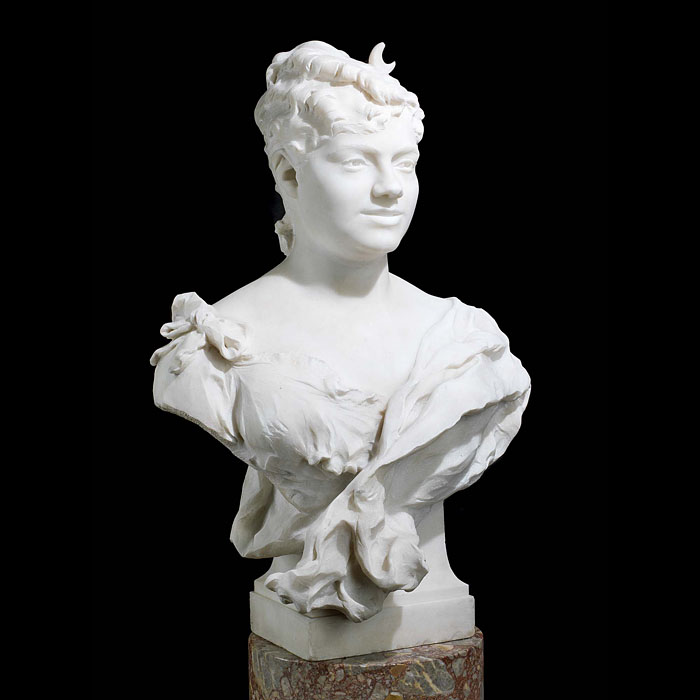 A French marble bust of a young woman