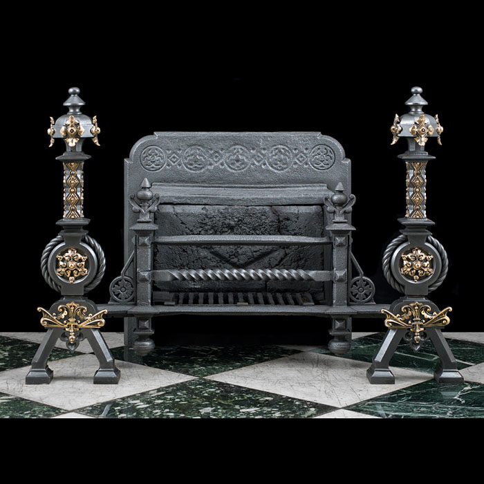 A Large Gothic Revival Antique Fire Grate