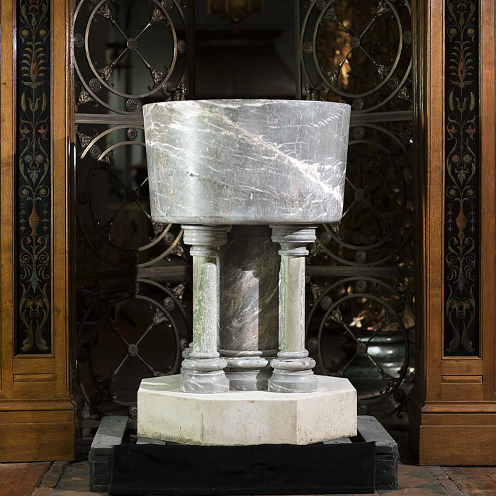A large Victorian Ashburton Marble baptismal font