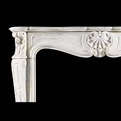 French Rococo style Carrara Marble fireplace mantel