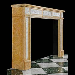 A Crema Valencia Louis XVI antique marble fireplace