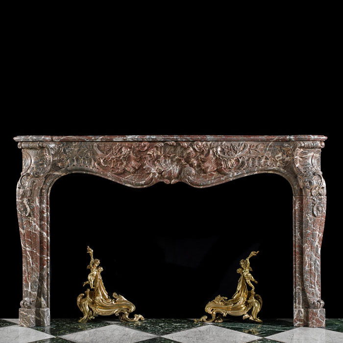 A Louis XV Rococo Marble Fireplace Surround