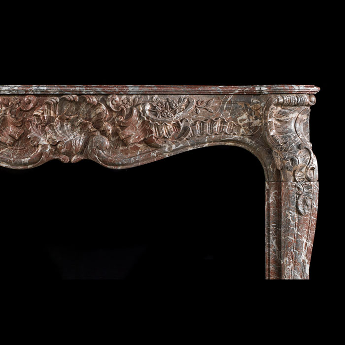 A Louis XV French Rococo antique marble fireplace surround