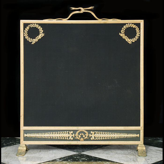 19th century Louis XVI brass and ormolu mounted firescreen