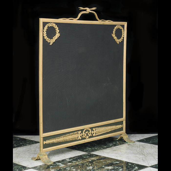 19th century French Regency brass and ormolu mounted firescreen