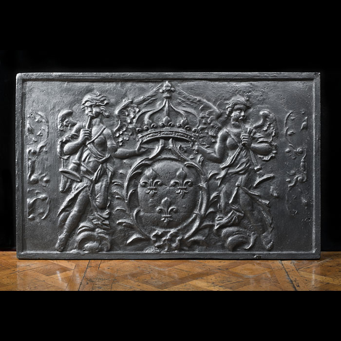 Large and heavy cast iron antique armorial fireback