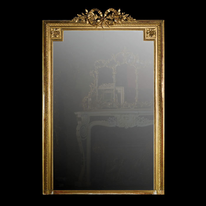 A Carved & Gilded French Overmantel Mirror