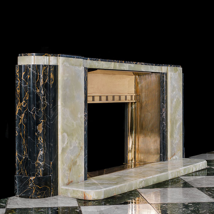 Low and wide 1930's Art Deco marble fireplace surround