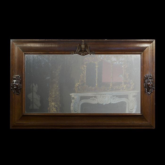 A Large French Oak Framed Overmantel Mirror