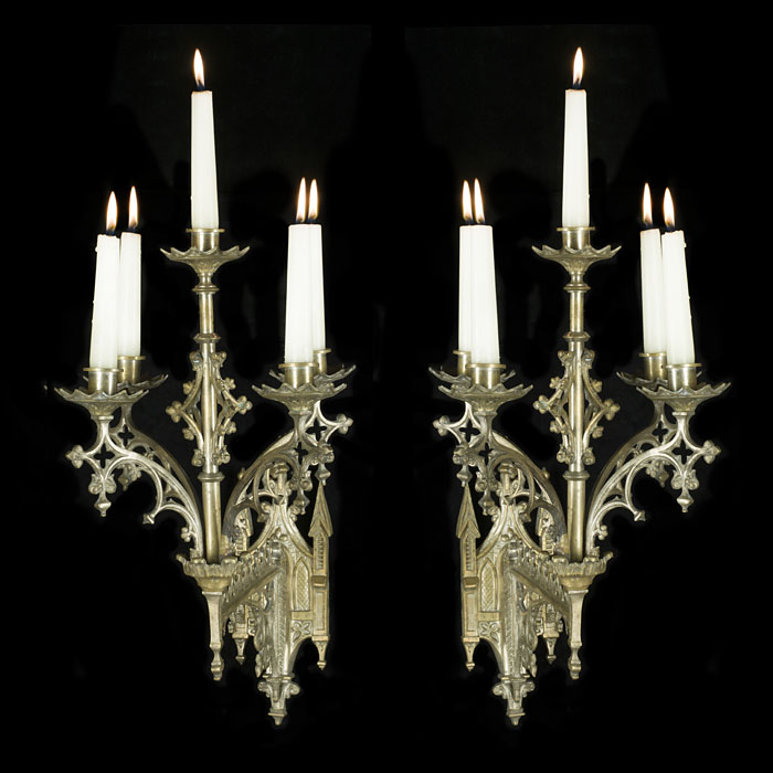 Attractive pair of Gothic Revival silver plated wall lights