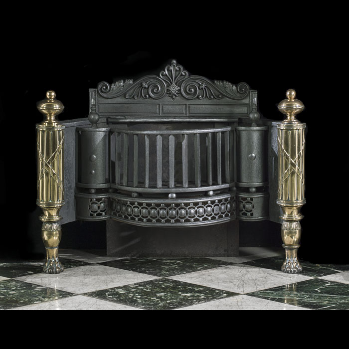 A Large Regency Steel & Brass Fire Basket